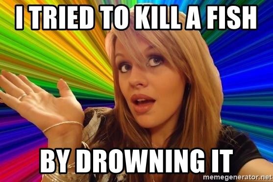 Dumb Blonde - I tried to kill a fish  by drowning it