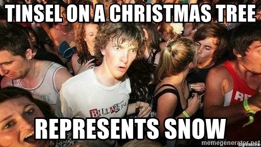 -Sudden Clarity Clarence - Tinsel on a christmas tree represents snow