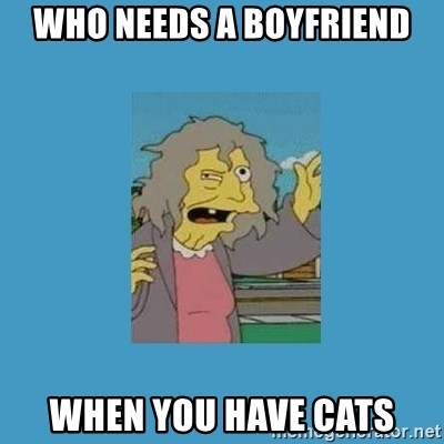 crazy cat lady simpsons - who needs a boyfriend when you have cats