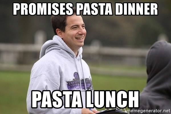 Empty Promises Coach - Promises pasta dinner pastA lunch