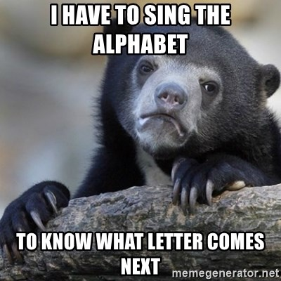 Confession Bear - I have to sing the alphabet to know what letter comes next