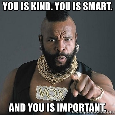 Mr T - YOU IS KIND. YOU IS SMART. AND YOU IS IMPORTANT.