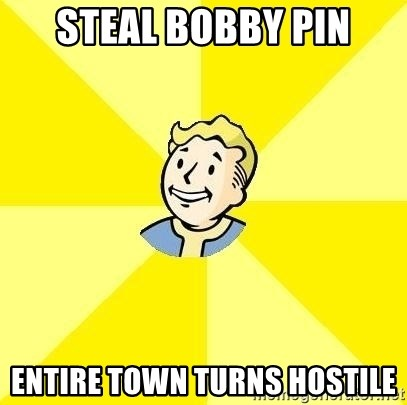 Fallout 3 - steal bobby pin entire town turns hostile