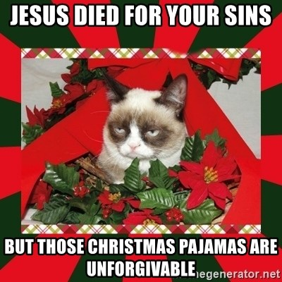 GRUMPY CAT ON CHRISTMAS - jesus died for your sins but those christmas pajamas are unforgivable