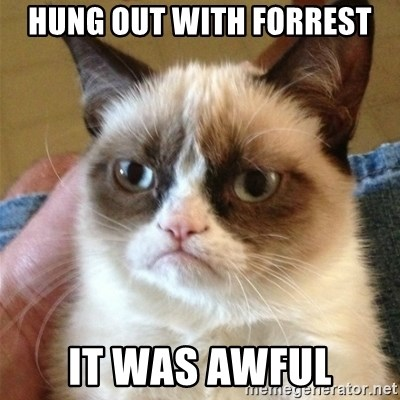 Grumpy Cat  - Hung out with Forrest it was AWFUL