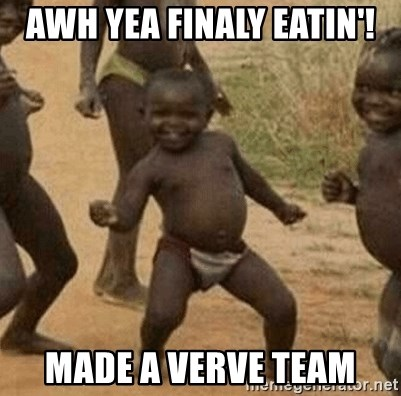 Success African Kid - awh yea finaly eatin'! made a verve team