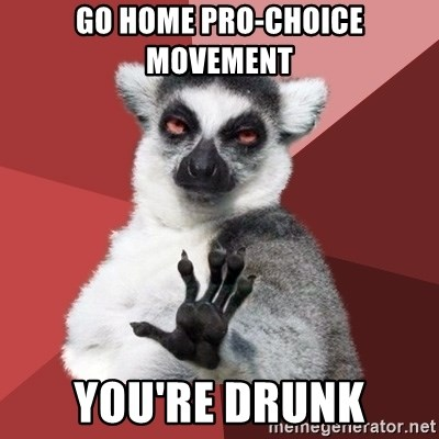 Chill Out Lemur - GO HOME PRO-CHOICE MOVEMENT YOU'RE DRUNK