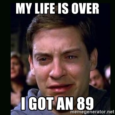crying peter parker - my life is over i got an 89