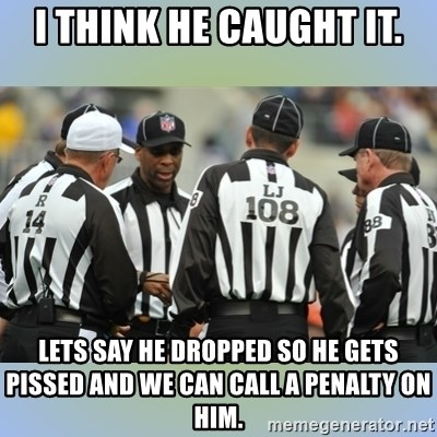 NFL Ref Meeting - i think he caught it. lets say he dropped so he gets pissed and we can call a penalty on him.