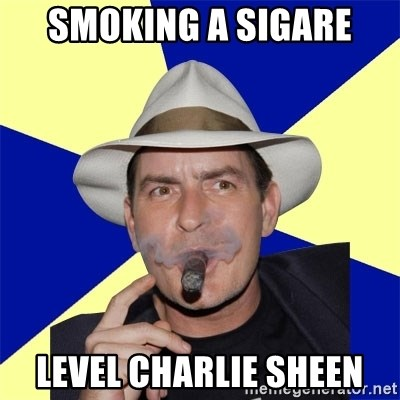 Charlie Sheen Winning - SMOKING A SIGARE LEVEL CHARLIE SHEEN