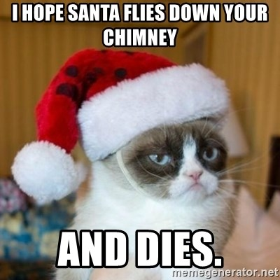 Grumpy Cat Santa Hat - i hope santa flies down your chimney and dies.