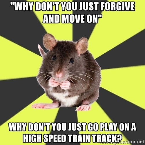 """Survivor Rat - """"WHY DON'T YOU JUST FORGIVE AND MOVE ON"""" WHY DON'T YOU JUST GO PLAY ON A HIGH SPEED TRAIN TRACK?"""