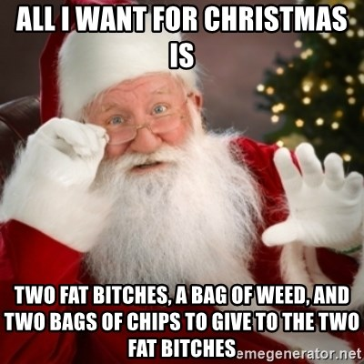 All I Want For Christmas Is Two Fat Bitches A Bag Of Weed And Two Bags Of Chips To Give To The Two Fat Bitches Santa Claus
