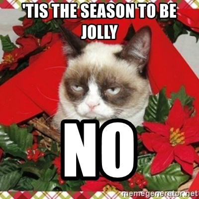Grumpy Christmas Cat - 'TIS THE SEASON TO BE JOLLY NO