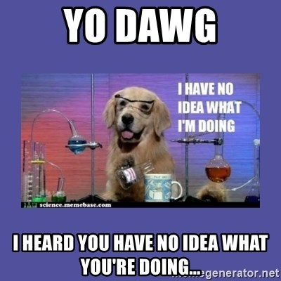 I don't know what i'm doing! dog - yo dawg i heard you have no idea what you're doing...