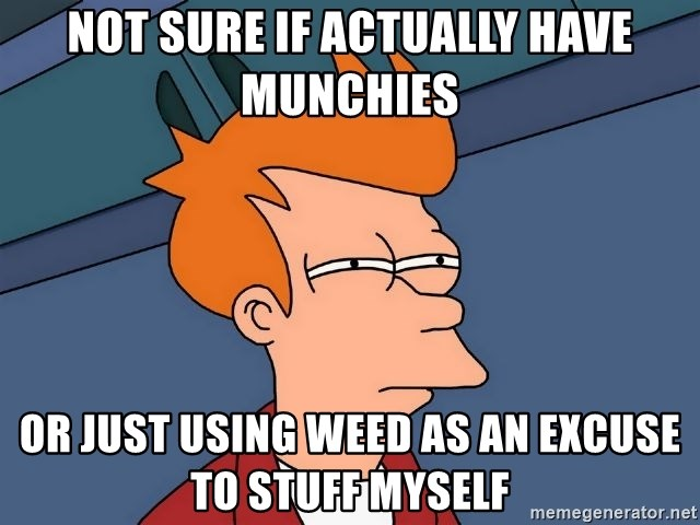 Futurama Fry - Not sure if actually have munchies or just using weed as an excuse to stuff myself