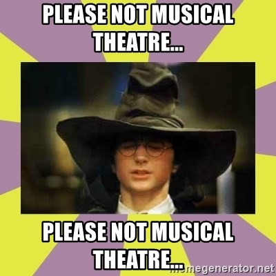 Harry Potter Sorting Hat - PLEASE NOT MUSICAL THEATRE... PLEASE NOT MUSICAL THEATRE...