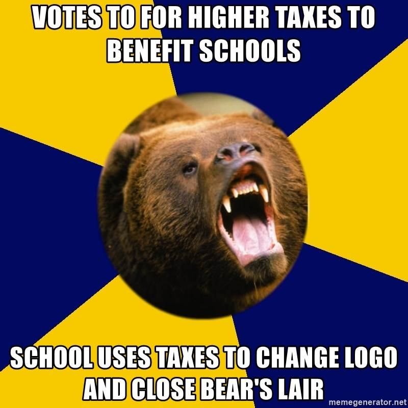 Berkeley Student Bear - Votes to for higher taxes to benefit schools School uses taxes to change logo and close bear's lair