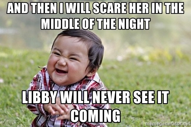 evil asian plotting baby - And then i will scare her in the middle of the night libby will never see it coming