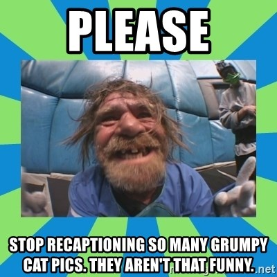 hurting henry - Please Stop recaptioning so many grumpy cat pics. They aren't that funny.