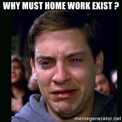crying peter parker - WHY MUST HOME WORK EXIST ?