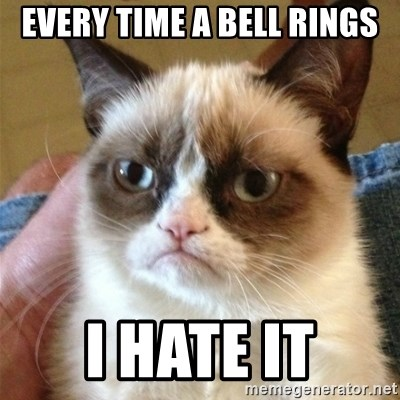 Grumpy Cat  - Every time a bell rings I hate it