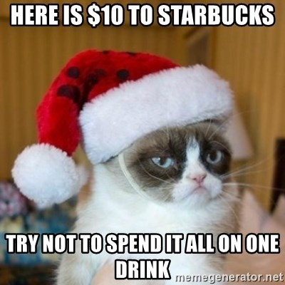 Grumpy Cat Santa Hat - Here is $10 to Starbucks Try not to spend it all on one drink