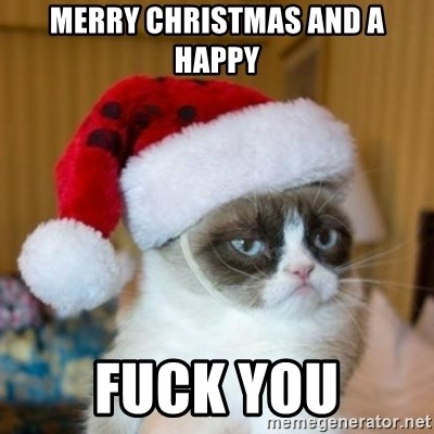 Grumpy Cat Santa Hat - merry christmas and a happy fuck you