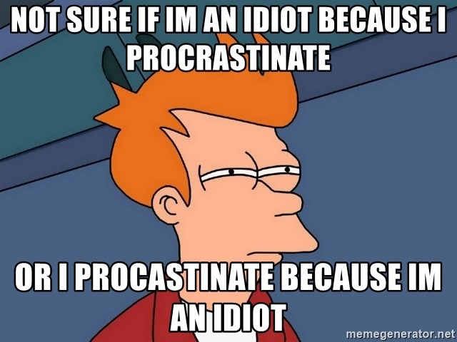 Futurama Fry - not sure if im an idiot because i procrastinate or i procastinate because im an idiot