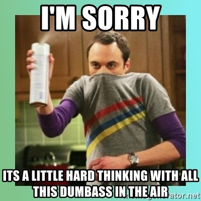 Sheldon Cooper spray can - I'm sorry its a little hard thinking with all this dumbass in the air