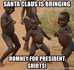 african children dancing - Santa Claus is bringing Romney For President Shirts!