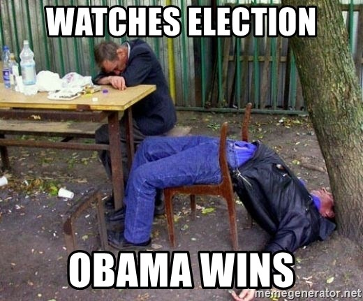 drunk - Watches Election Obama Wins
