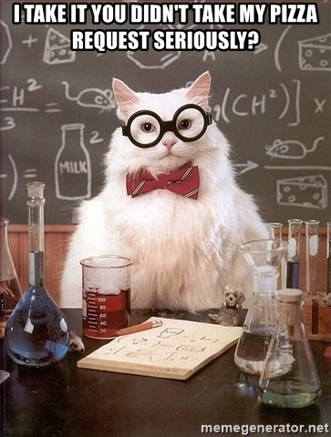 Chemistry Cat - I take it you didn't take my pizza request seriously?