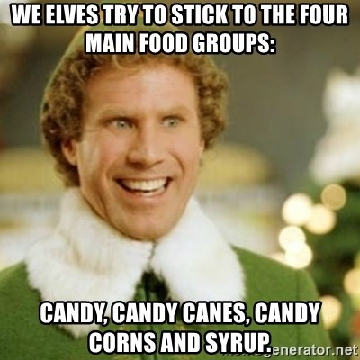 32040209 we elves try to stick to the four main food groups candy, candy,Candy Meme