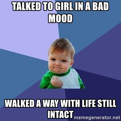 Success Kid - talked to girl in a bad mood walked a way with life still intact