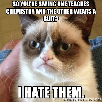 Grumpy Cat  - so you're saying one teaches chemistry and the other wears a suit? i hate them.