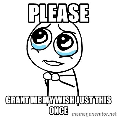 Please grant me my wish just this once - pleaseguy | Meme Generator