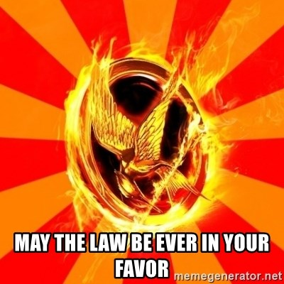 Typical fan of the hunger games - May the law be ever in your favor