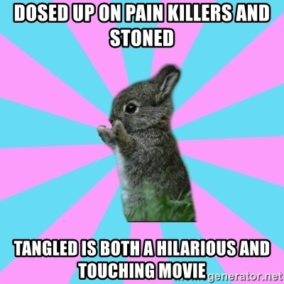 yAy FoR LifE BunNy - dosed up on pain killers and  stoned tangled is both a hilarious and touching movie