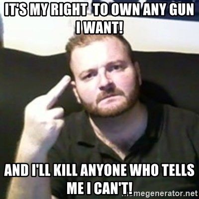 Angry Drunken Comedian - It's my right  to own any gun I want! And I'll kill anyone who tells me I can't!