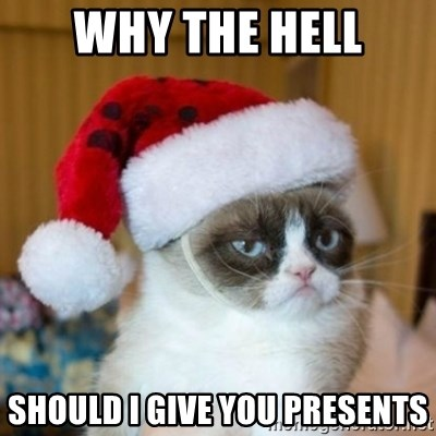 Grumpy Cat Santa Hat - WHY THE HELL SHOULD I GIVE YOU PRESENTS