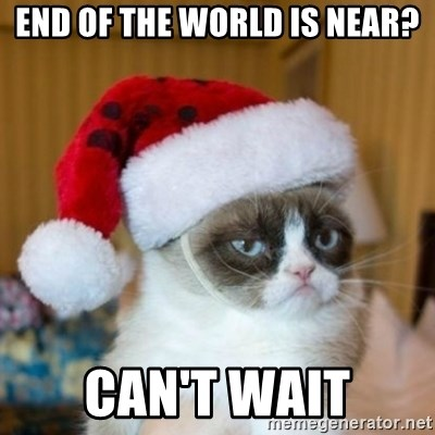 Grumpy Cat Santa Hat - End of the world is Near? Can't wait