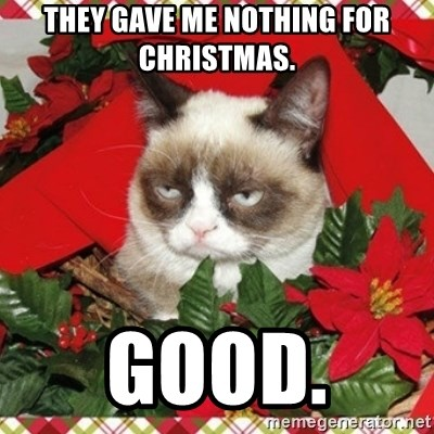 Grumpy Christmas Cat - THEY GAVE ME NOTHING FOR CHRISTMAS.  GOOD.