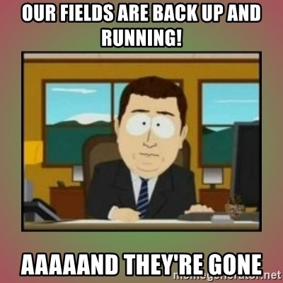 aaaand its gone - Our fields are back up and running! aaaaand they're gone