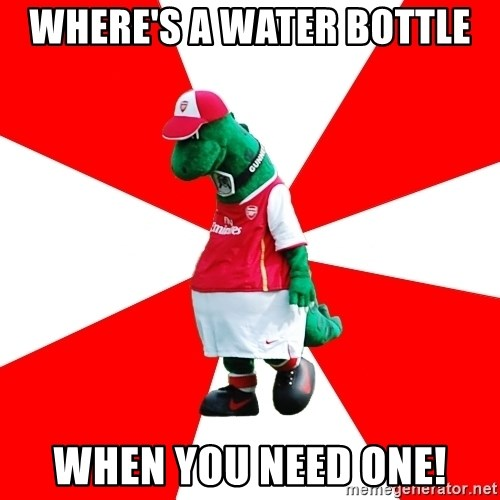 Arsenal Dinosaur - WHERE'S A WATER BOTTLE WHEN YOU NEED ONE!
