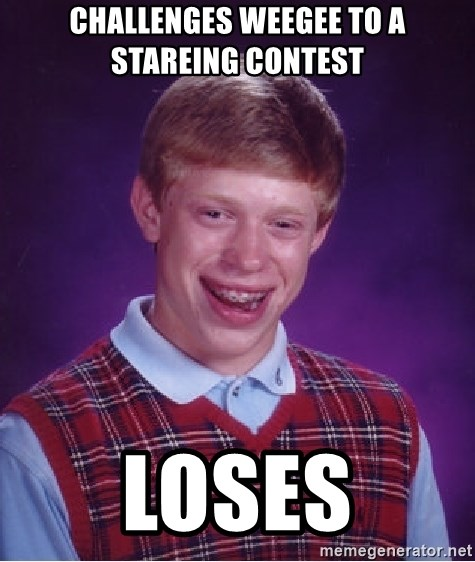 Bad Luck Brian - challenges weegee to a stareing contest loses