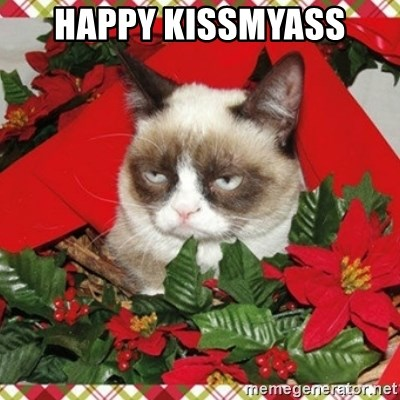 Grumpy Christmas Cat - HAPPY KISSMYASS