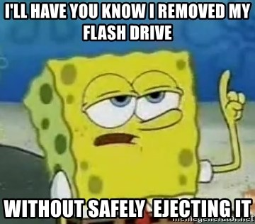 Tough Spongebob - i'll have you know i removed my flash drive without safely  ejecting it