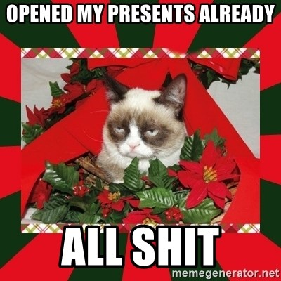 GRUMPY CAT ON CHRISTMAS - Opened my presents already All Shit