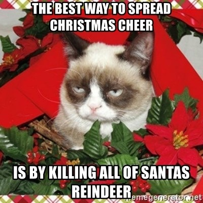 Grumpy Christmas Cat - The best way to spread christmas cheer is by killing all of santas reindeer
